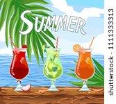 beach bar menu set. quote... | Shutterstock .eps vector #1111333313