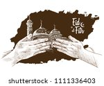 eid al fitr hand drawing sketch ... | Shutterstock .eps vector #1111336403