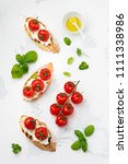 sandwich with baked cherry...   Shutterstock . vector #1111338986