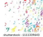 colorful flying musical notes...   Shutterstock .eps vector #1111339643