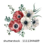 watercolor red and white... | Shutterstock . vector #1111344689