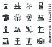 black vector icon set airport... | Shutterstock .eps vector #1111355816