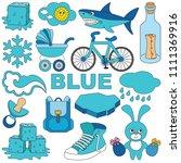 blue objects color elements set ... | Shutterstock .eps vector #1111369916