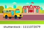 students go to school on the...   Shutterstock . vector #1111372079