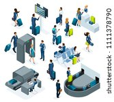 airport isometric icons set of... | Shutterstock .eps vector #1111378790