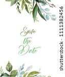 watercolor floral illustration  ... | Shutterstock . vector #1111382456