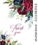 watercolor floral illustration  ... | Shutterstock . vector #1111382513