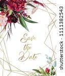 watercolor floral illustration  ... | Shutterstock . vector #1111382543