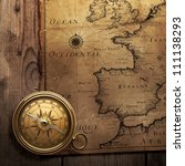 Old Compass On Vintage Map ...