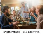 multi ethnic group of friends... | Shutterstock . vector #1111384946