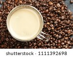 transparent glass cup with...   Shutterstock . vector #1111392698