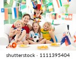 family with children watching... | Shutterstock . vector #1111395404