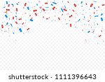 red and blue confetti falling... | Shutterstock .eps vector #1111396643