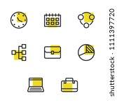 economy icons set with laptop ...