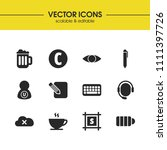 user icons set with coffee  pen ...