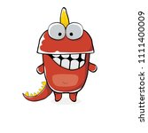 vector funny cartoon cute red... | Shutterstock .eps vector #1111400009