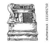 vintage cash register. sketch....   Shutterstock .eps vector #1111401710