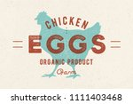 chicken eggs. vintage hand... | Shutterstock .eps vector #1111403468