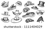 summer hats vintage collection... | Shutterstock .eps vector #1111404029