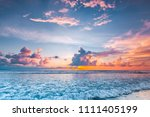 radiant colorful sea beach... | Shutterstock . vector #1111405199