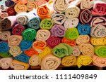 colorful turkish bath towels... | Shutterstock . vector #1111409849