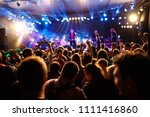 crowd of young people with... | Shutterstock . vector #1111416860