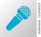 hands microphone icon. paper... | Shutterstock .eps vector #1111420319