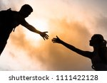 man reaching out hand to help... | Shutterstock . vector #1111422128
