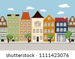 seamless border of cute retro... | Shutterstock .eps vector #1111423076
