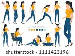 flat design young woman... | Shutterstock .eps vector #1111423196