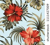 tropical vintage red hibiscus... | Shutterstock .eps vector #1111427009