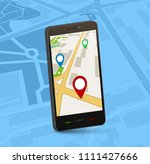 gps navigation map mobile app....   Shutterstock .eps vector #1111427666
