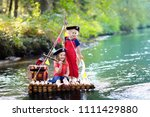 kids dressed in pirate costumes ... | Shutterstock . vector #1111429880