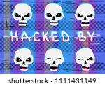 glitch hacker skulls set with... | Shutterstock . vector #1111431149