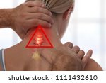 Small photo of Neck pain, Chiropractic back adjustment. Osteopathy, Acupressure,Sport Injury Rehabilitation concept.