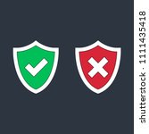 shield check marks icon set.... | Shutterstock .eps vector #1111435418
