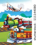 The locomotive and the flying machine - illustration for the children 12 - stock photo