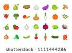 vegetables icon set. cartoon... | Shutterstock . vector #1111444286