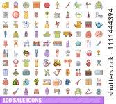 100 Sale Icons Set. Cartoon...