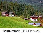 alpine green fields and... | Shutterstock . vector #1111444628