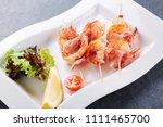 grilled shrimps. shrimps... | Shutterstock . vector #1111465700