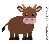 brown cow   cartoon brown cow... | Shutterstock .eps vector #1111466273