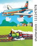 The locomotive and the flying machine - illustration for the children 15 - stock photo