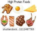 a set of high protein food... | Shutterstock .eps vector #1111487783