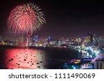 pattaya night view with... | Shutterstock . vector #1111490069