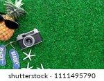 summer concept   flat lay... | Shutterstock . vector #1111495790