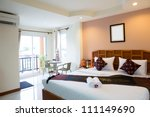 Stock photo interior of modern comfortable hotel room 111149690