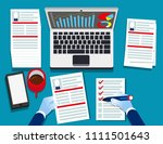 hr manager looking through... | Shutterstock .eps vector #1111501643