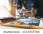 businesswoman hand working... | Shutterstock . vector #1111515764