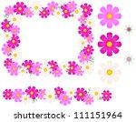 cosmos flower   frame  line | Shutterstock .eps vector #111151964